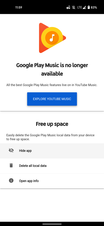 hide Google Play Music