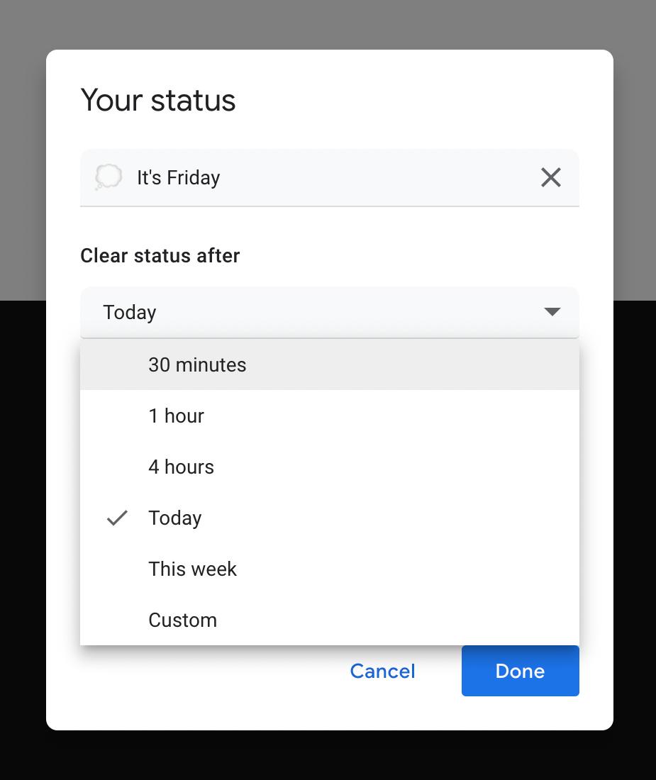 Gmail Chat custom status