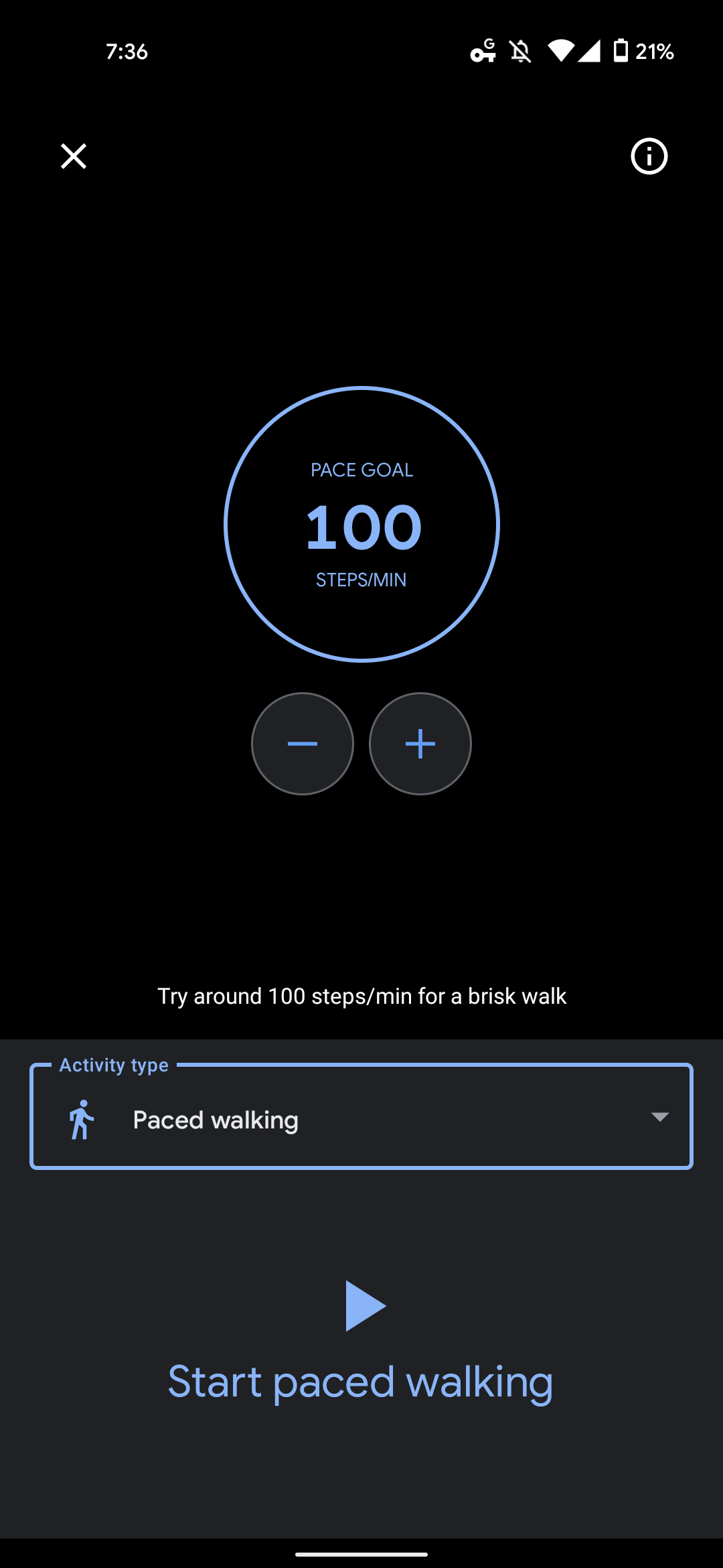 Google Fit paced walking