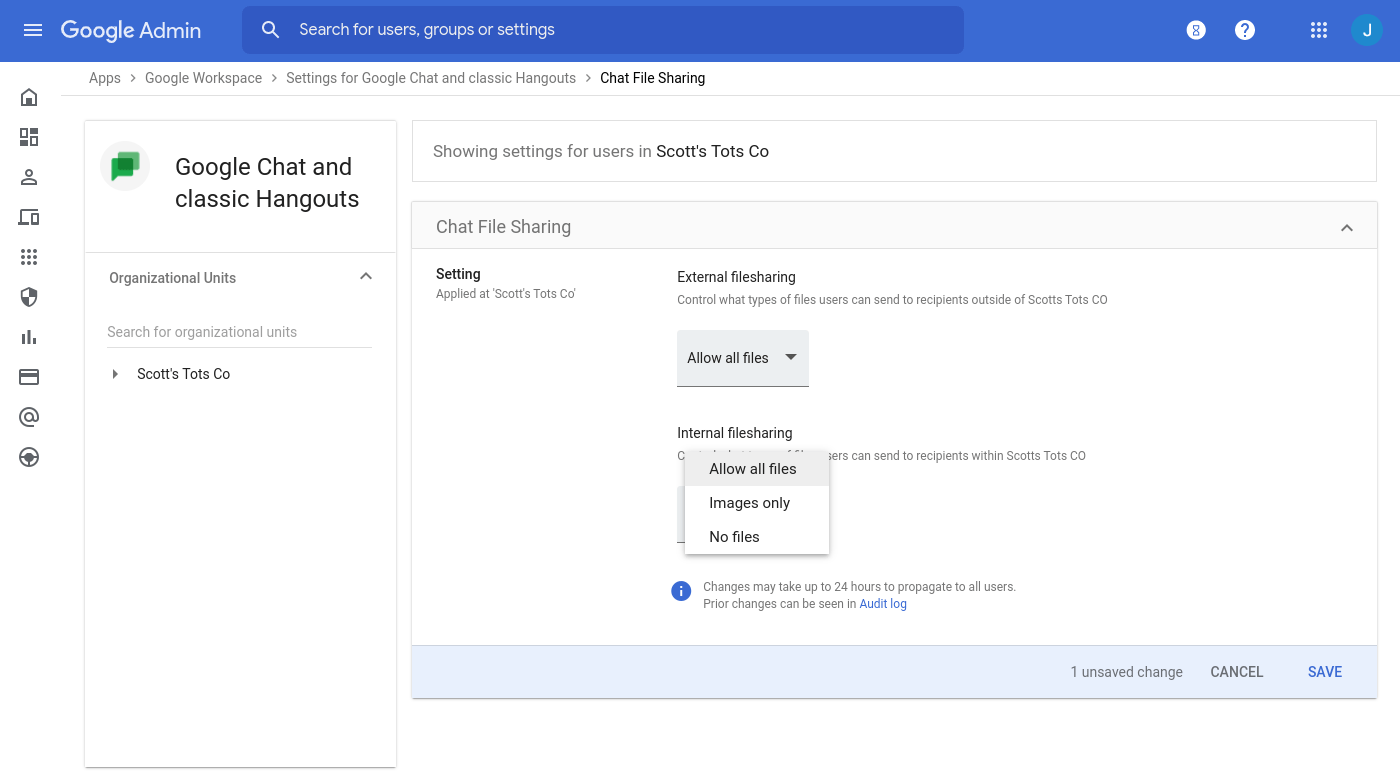 Google Chat file sharing