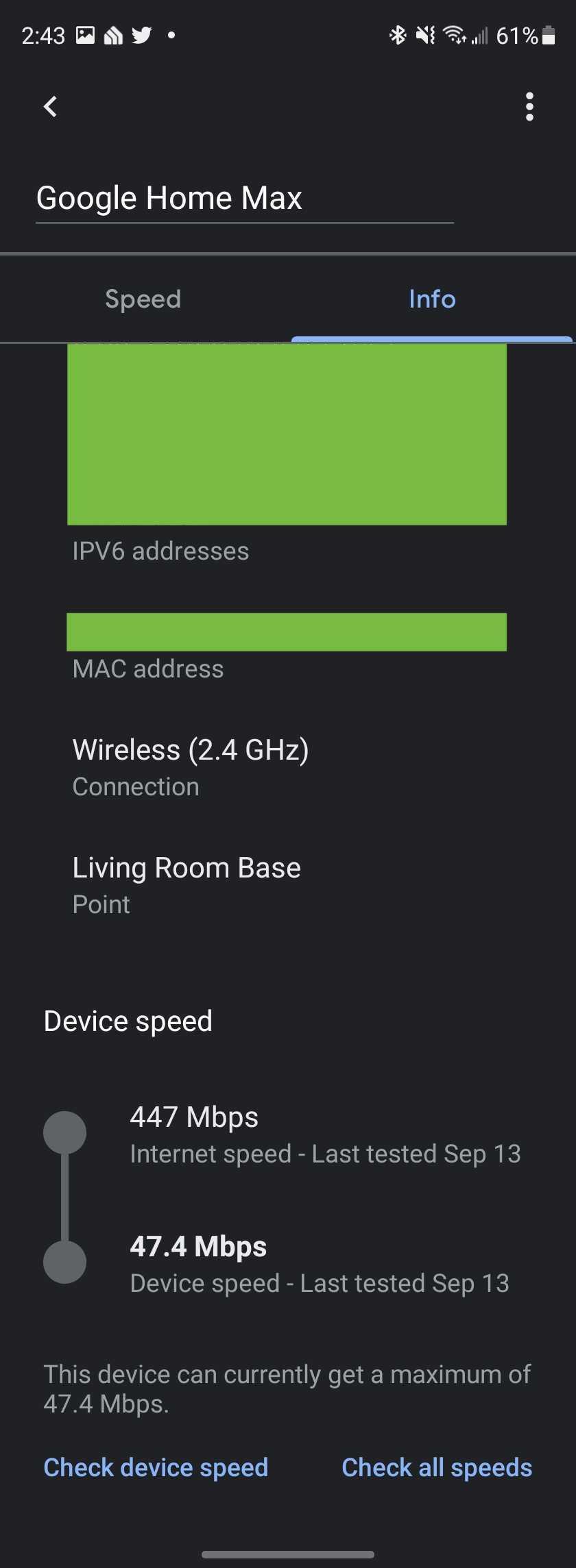 Google Home Wifi device speed