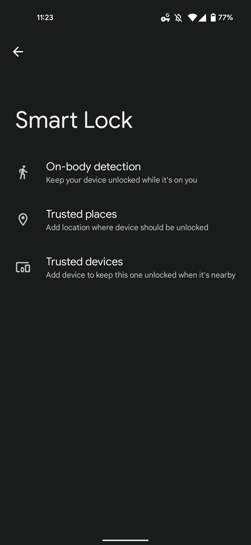 Android Smart Lock UI