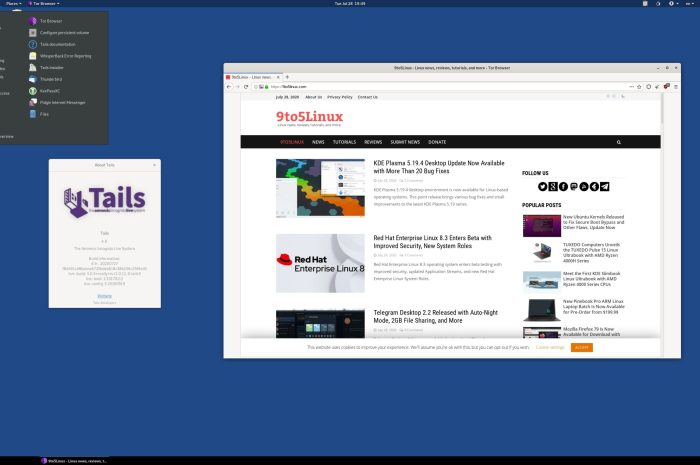 Tails 4.9, the Amnesic Incognito Live System, Released with Linux Kernel 5.7