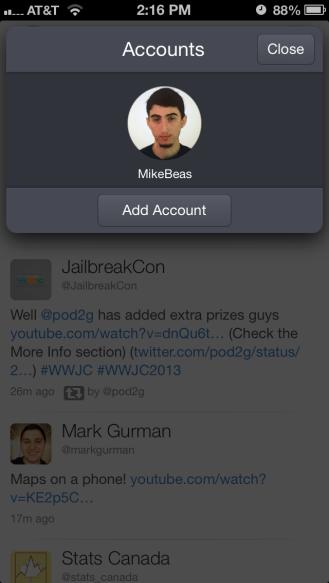 Account switcher