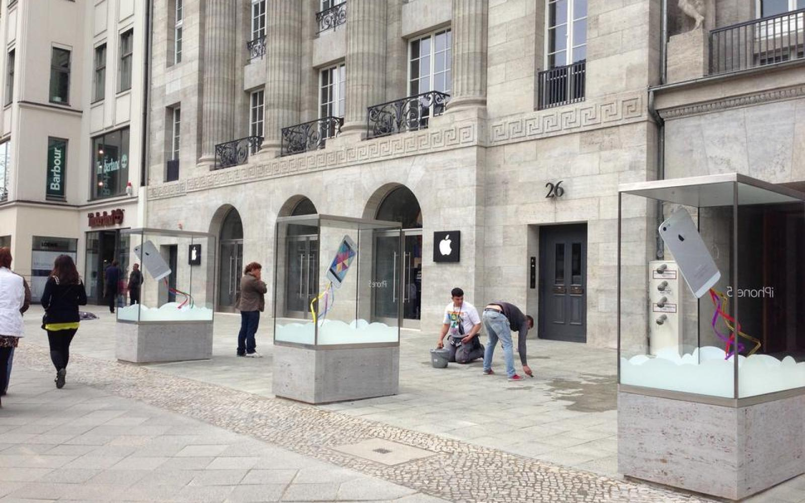 Product showcases appear before Apple Store opening in Berlin