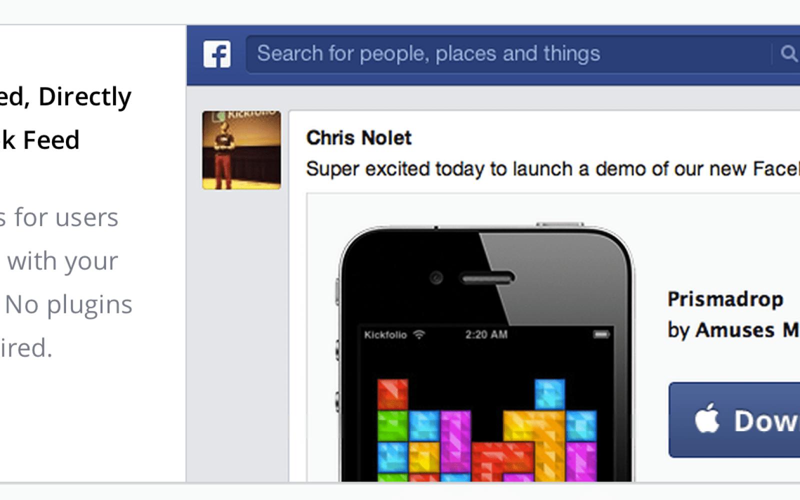 Kickfolio changes name to App.io, brings iOS app demos to Facebook news feed
