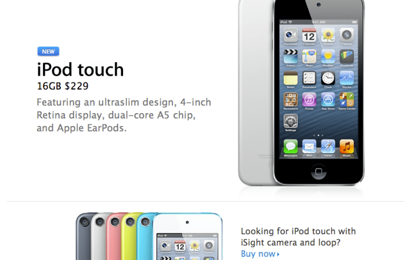 Apple discontinues fourth-generation iPod touch, replaces with iSight-free 4-inch model
