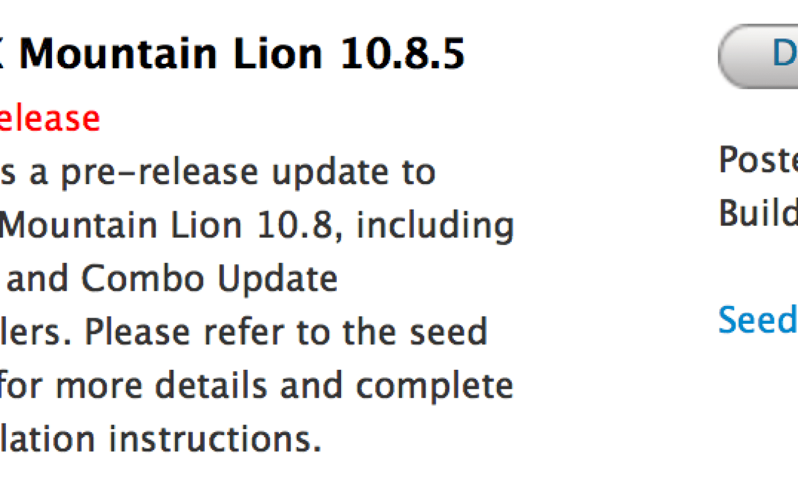 Apple seeds OS X 10.8.5 beta build 12F17 to developers