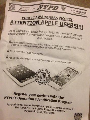 New York Police actively encouraging people to update to iOS 7 for added security
