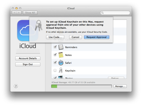 approval icloud keychain