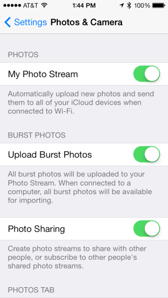 New upload burst photos toggle
