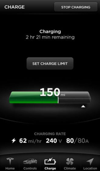 Tesla-app-iPhone-charge