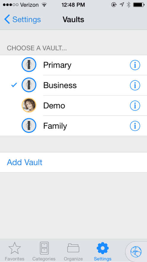 iPhone-Multiple Vaults