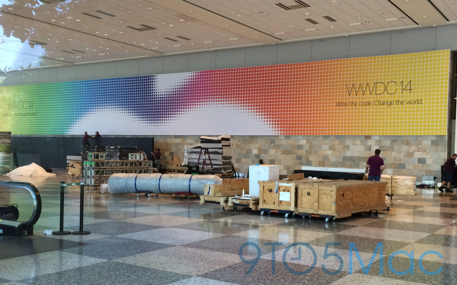 Apple displaying colorful banners at Moscone West ahead of WWDC 2014