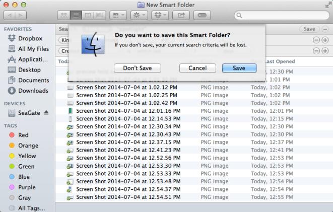 spotilight save this smart folder?