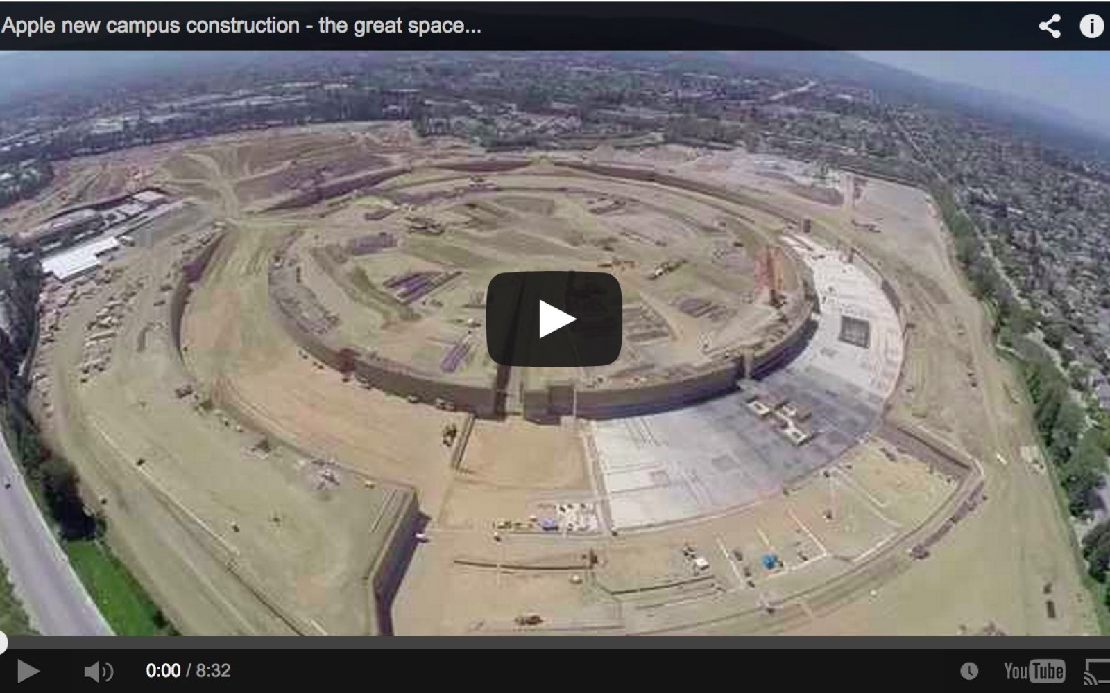 Apple 'spaceship' campus construction caught on film by flying drone