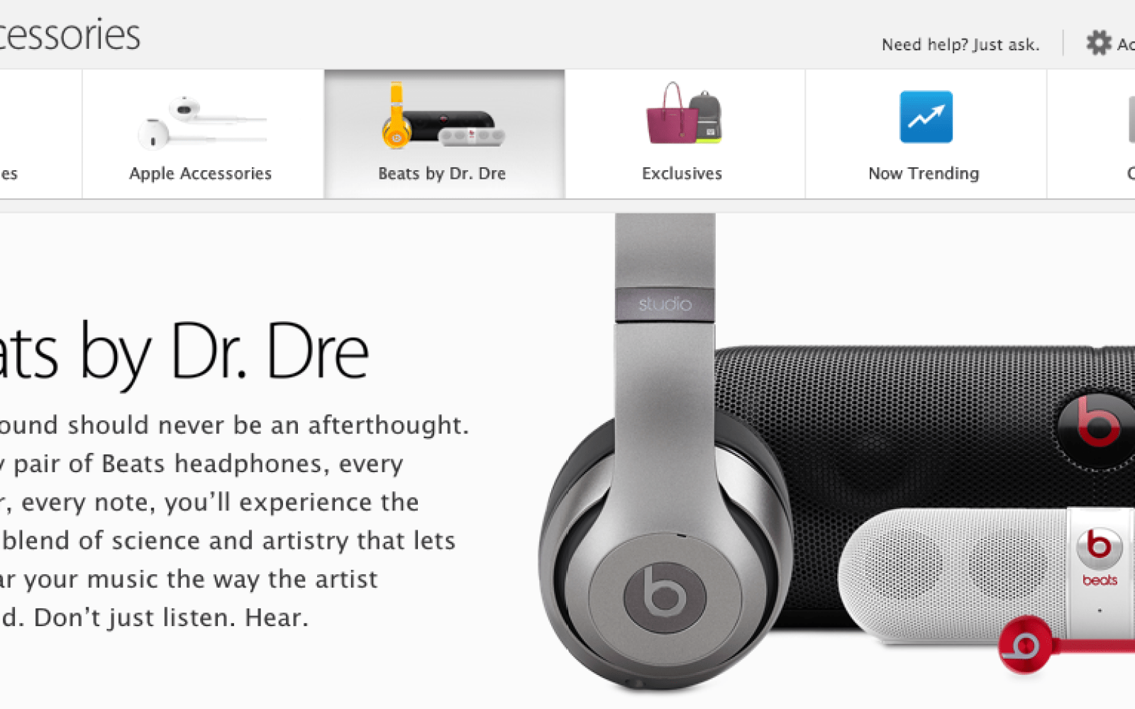 Apple gives newly acquired Beats by Dre dedicated accessories section on online store