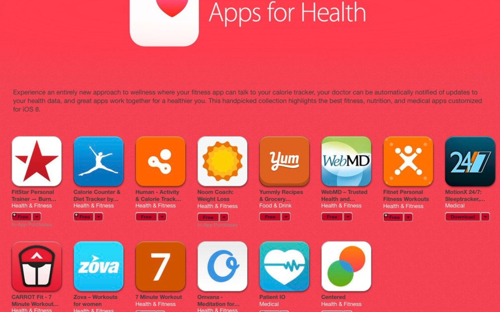 'Apps for Health' section hits App Store following Apple's release of Healthkit enabled iOS 8.0.2