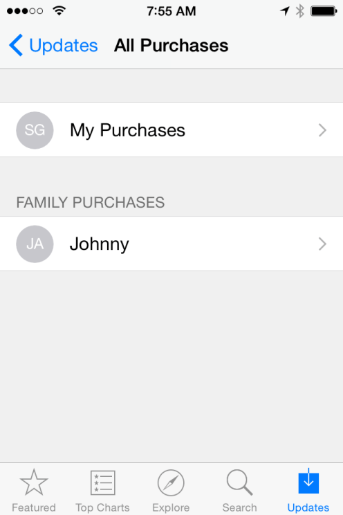 App Store Purchased section