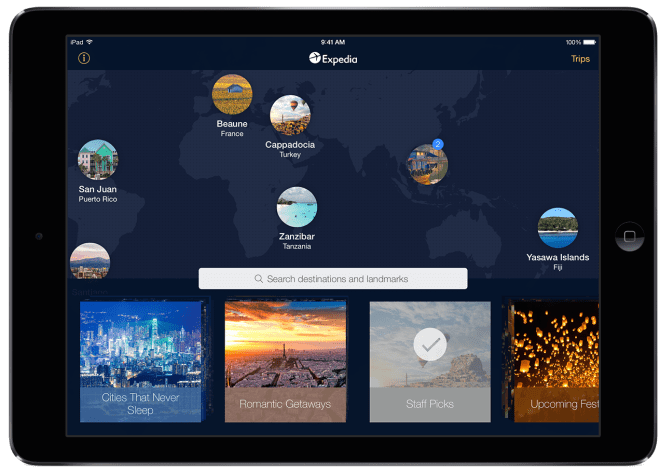 Landing Page-New Expedia iPad App