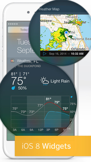 Weather Underground updated with iOS 8 widget featuring radar view and current conditions