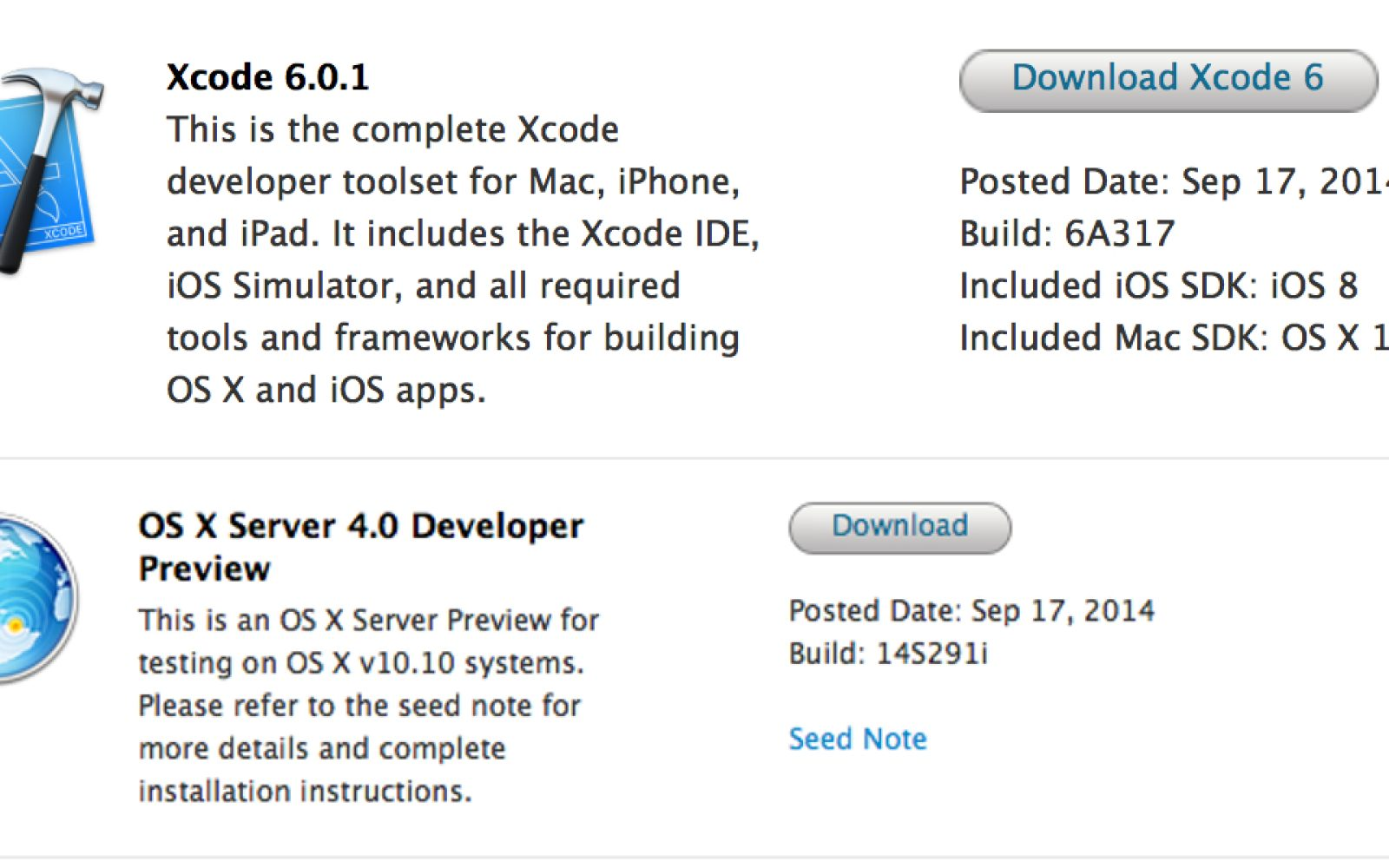Apple releases Xcode 6 0 1 to the App Store, seeds new OS X
