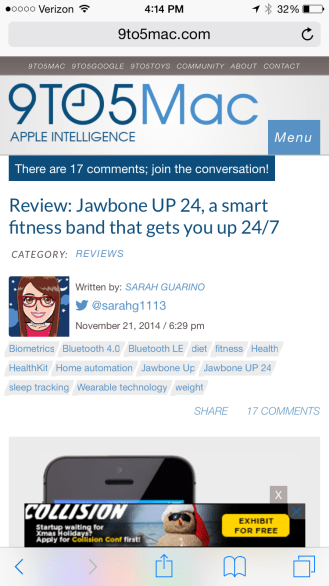 Screenshot of Jawbone UP 24 review