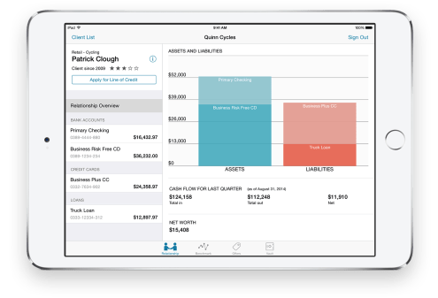 """Advise & Grow """"Small-business bankers now have a powerful tool to help their clients in a big way with the Advise & Grow app on iPad. Wherever the client meeting may be, bankers have visibility into relevant account information on the spot. Client financial and credit data, customer profiles, and competitive analysis are available on tap, with all the number crunching going on behind the scenes in real time. Never before has banking been so convenient for the small business owner — with more time to discuss the bottom line."""""""