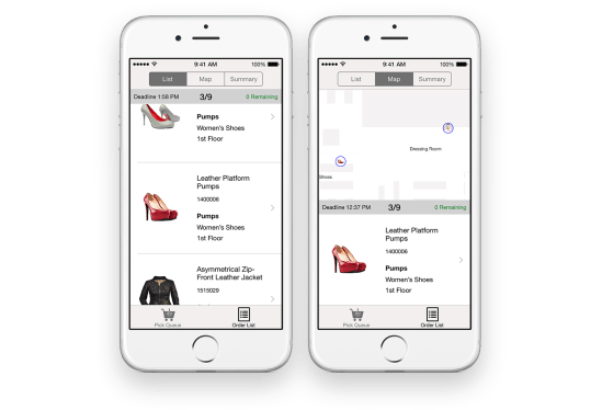 """Pick & Pack """"Retail stores now have a quick, easy way to streamline order fulfillment with the Pick & Pack app. Wherever they are in the store, sales associates have real-time access to the product information they need to serve their customers — including product location and availability, right on iPhone. This time-saving mobile app lets the sales associate select multiple items and find them quickly with a mapping of where the items are located within the store using iBeacon technology. Staging the items for store pickup or delivery completes the sale in no time. It's a win-win for both retail stores and shoppers."""""""