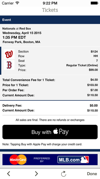 MLB Ballpark Apple Pay