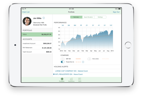 """Trusted Advice """"iPad and the Trusted Advice app are transforming personal finance with fast access to a robust set of financial data available on demand with a simple, intuitive user interface. Empowered with a sophisticated portfolio-modeling tool on iPad, wealth advisors can meet with their clients anywhere and offer informed guidance based on deep financial analysis. Visually rich graphics and charts enhance a great iOS experience. The app enables wealth advisors to build trust while clients build their portfolio."""""""