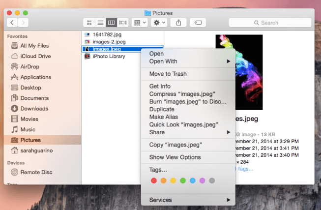 Finder right click options