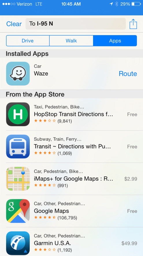 use a different maps app