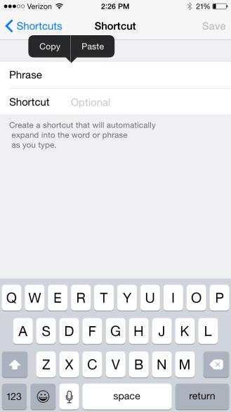 Paste option for keyboard shortcut