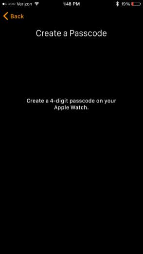 Apple Watch App create passcode