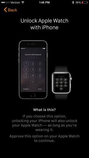 Apple Watch App unlock from iPhone