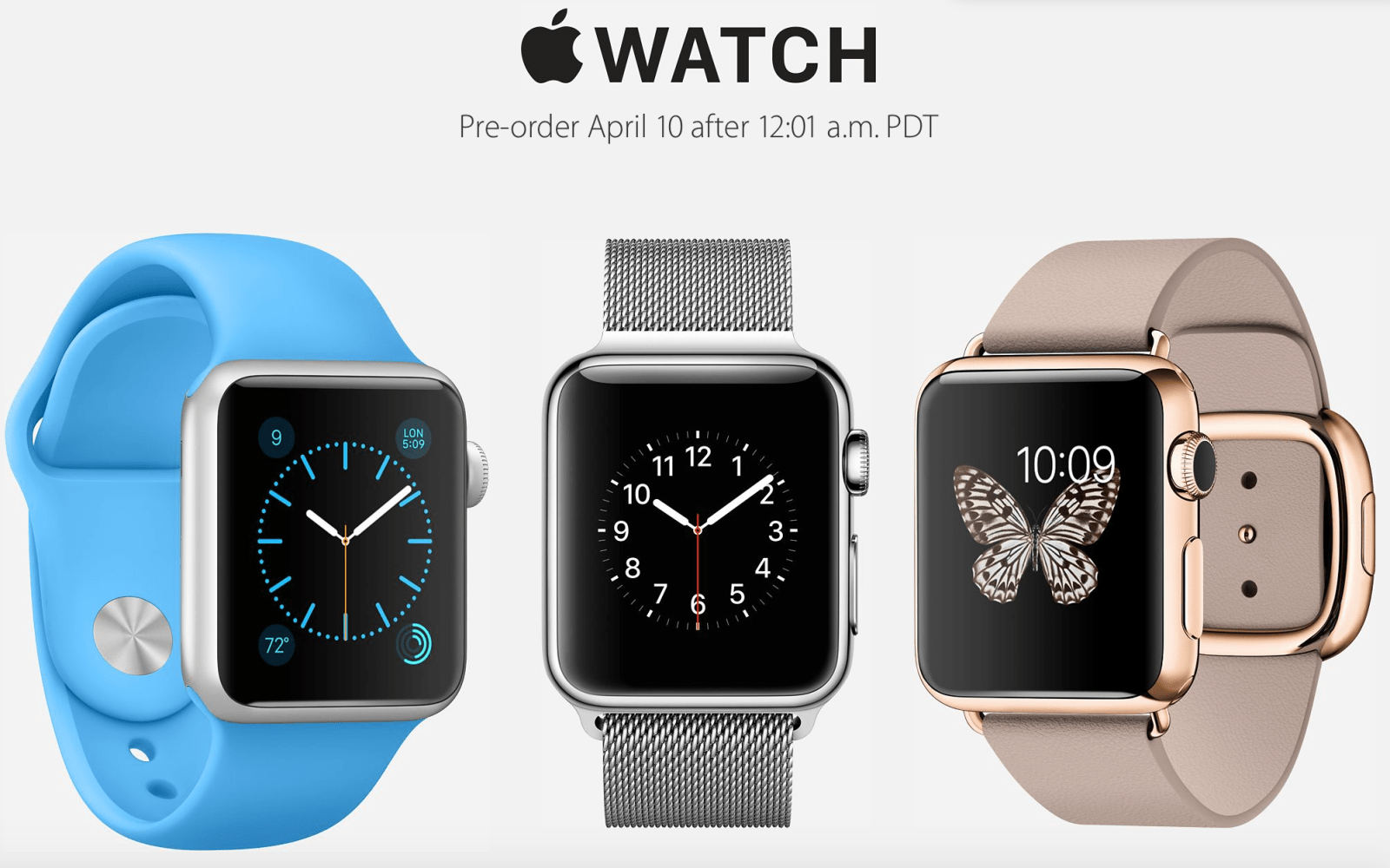 Apple Watch pre-orders will begin at 12:01 PDT on April 10