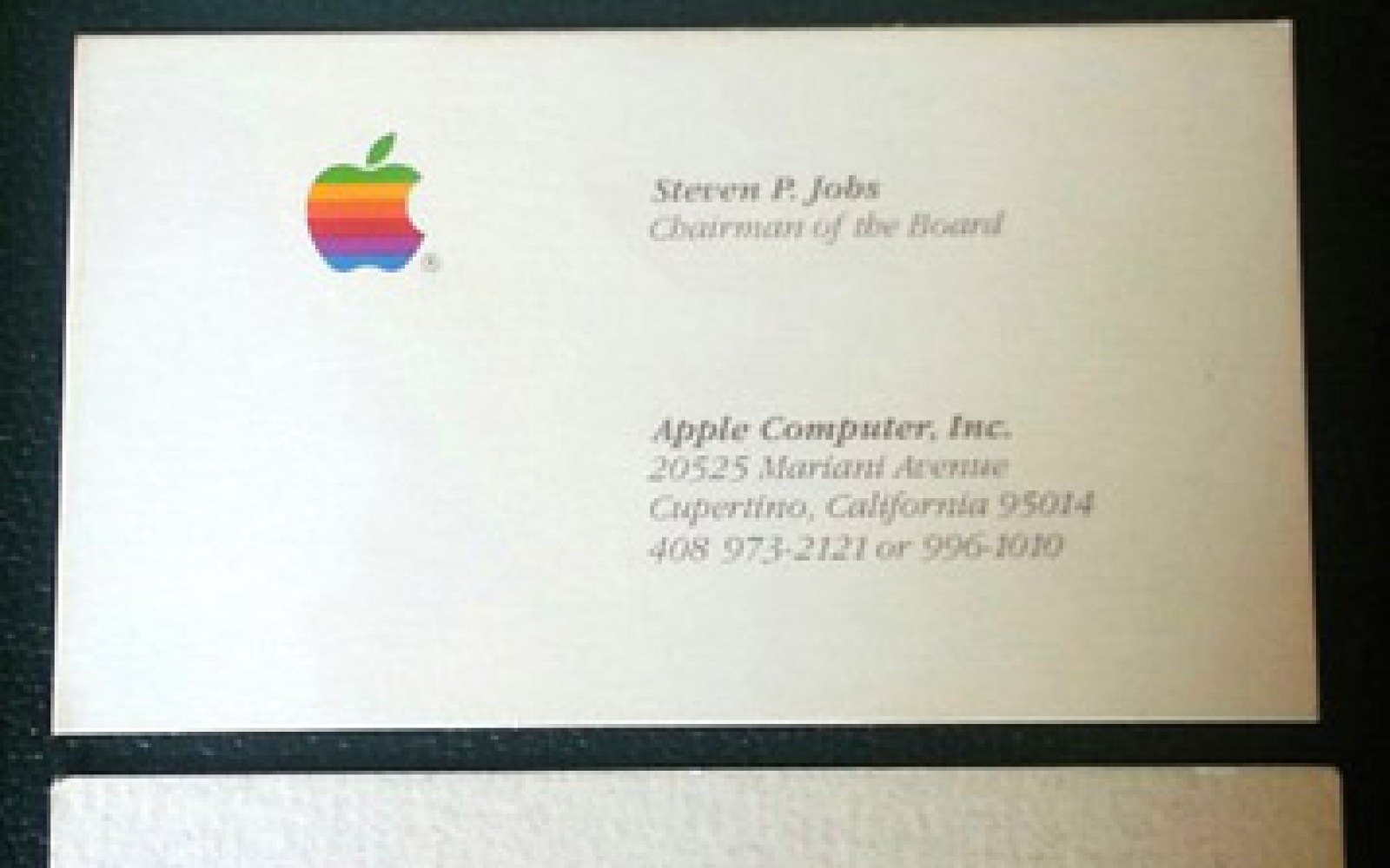 Steve Jobs business cards up for school auction, one each for NeXT, pre-1985 Apple & Pixar