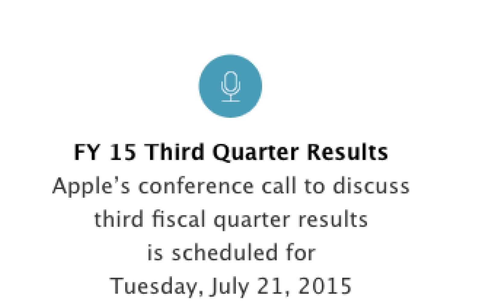 Apple schedules Q3 2015 earnings call livestream for July 21