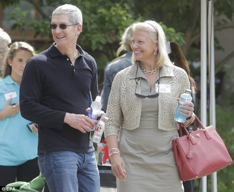 Tim Cook with IBM CEO Ginni Rometty