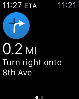 Watch displaying directions