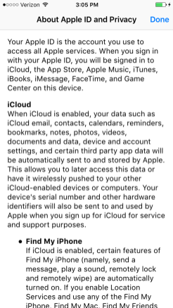 About Apple ID and Privacy iOS 9