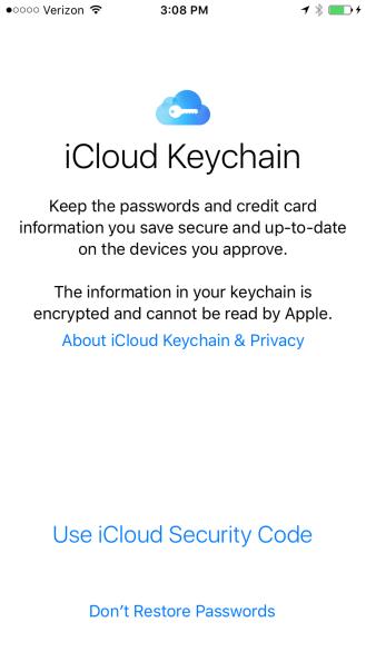 Setup iCloud Keychain iOS 9
