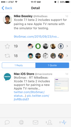 Detail view when tapping a tweet on the Stats page