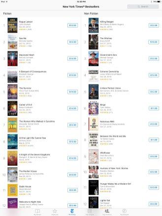 Comparison: iBooks listings on iPad Pro
