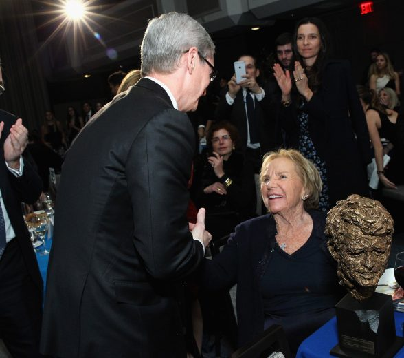 NEW YORK, NY - DECEMBER 08: Apple CEO Tim Cook (L) and Ethel Kennedy attend as Robert F. Kennedy Human Rights hosts The 2015 Ripple Of Hope Awards honoring Congressman John Lewis, Apple CEO Tim Cook, Evercore Co-founder Roger Altman, and UNESCO Ambassador Marianna Vardinoyannis at New York Hilton on December 8, 2015 in New York City. (Photo by Astrid Stawiarz/Getty Images for RFK Human Rights)