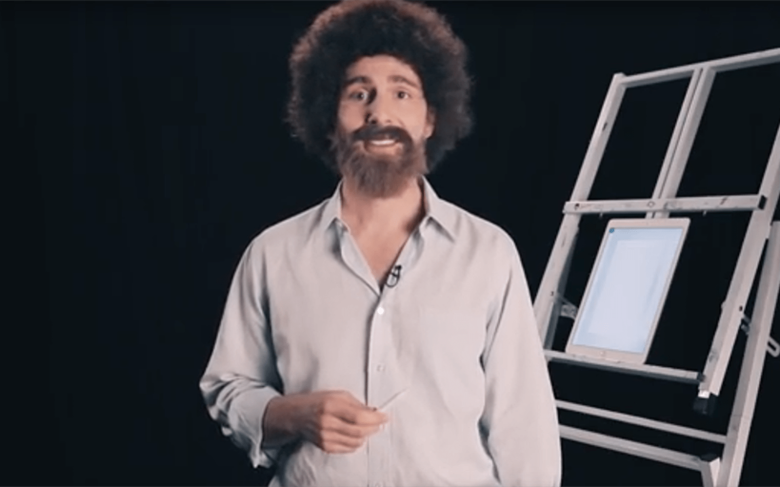 Four part video tutorial taps bob ross lookalike to promote photoshop sketch for ios