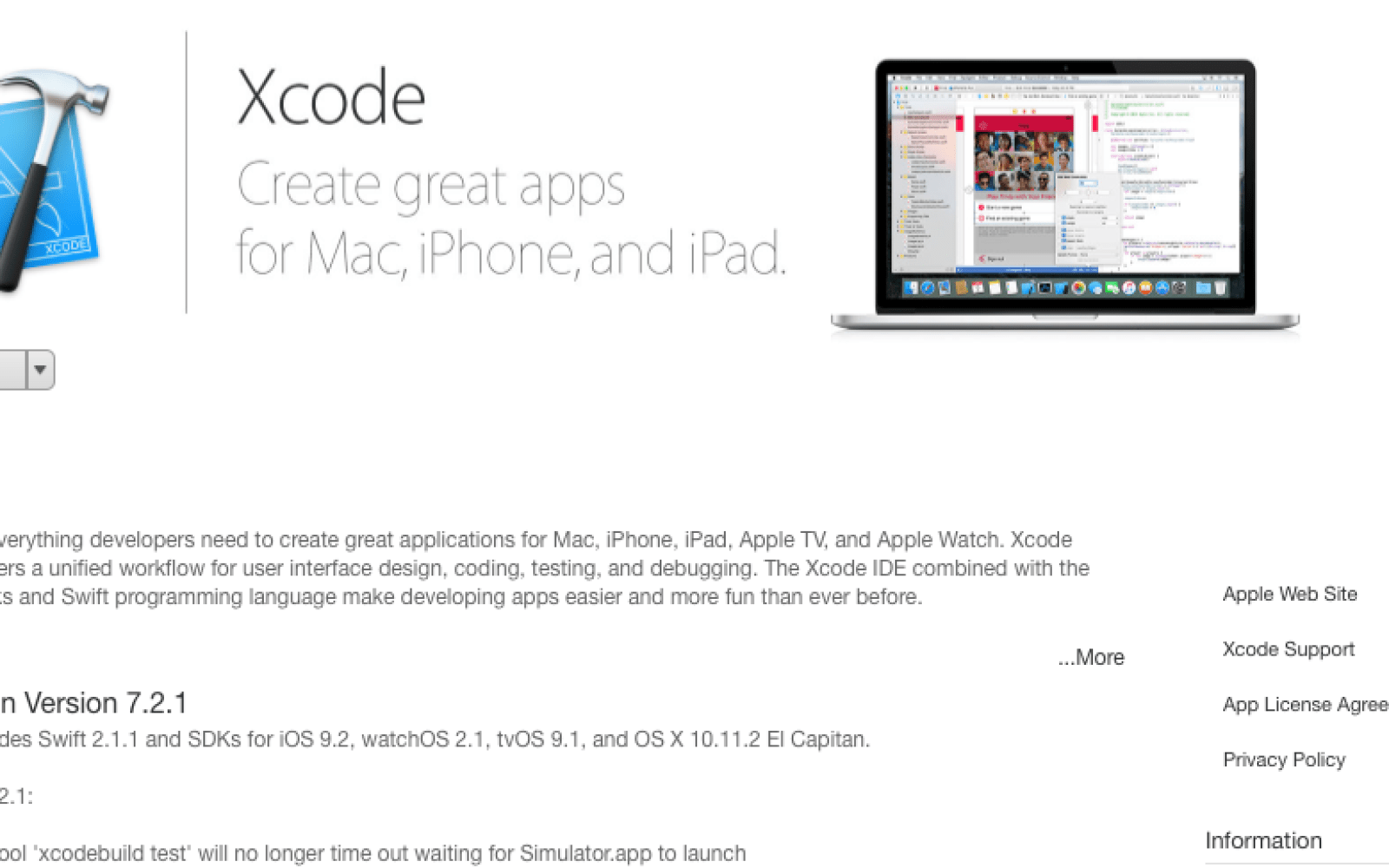 Apple releases Xcode 7 2 1 with bug fixes and performance