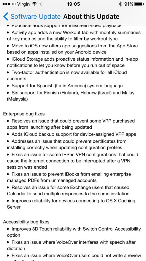 iOS 9.3 Release Notes Page 5