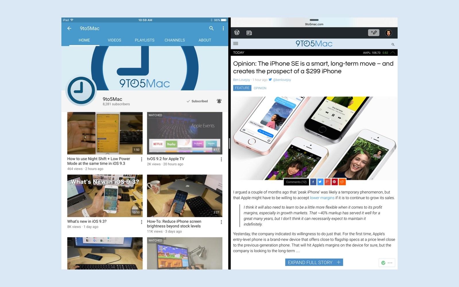 YouTube for iPad gains Split View and Slide Over multitasking on iOS 9, still lacks PIP